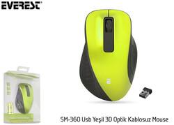 - Everest SM-360 Usb Yeşil 3D Optik Süper Sessiz Alkalin Pil Kablosuz Mouse